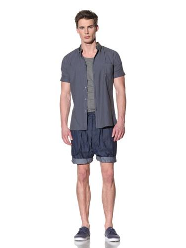 Fremont Men's Dproof Seamless Sleeve Button Shirt (Navy Contrast Collar)