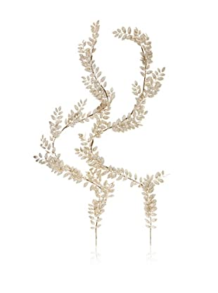 Jim Marvin 5' Glittered Leaf Garland, Platinum, 5'