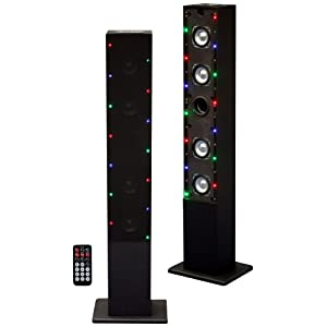 Craig Tower Speaker System with Flash Light FM Radio and USB/SD Slot Black (CHT909c)