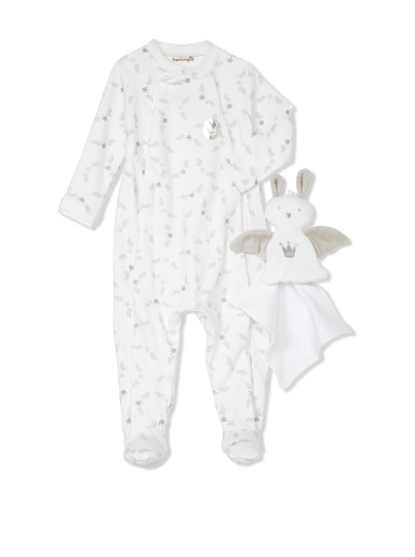 Berlingot Baby 2-Piece Footed Sleeper & Toy Bunny Set (White)