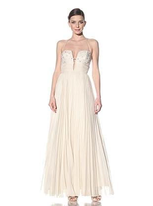 ABS by Allen Schwartz Women's Deep-V Embellished Bodice Halter Dress (Vintage Vanilla)