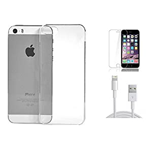 2010kharido Crystal Clear Transparent Hard Back Case Cover for Apple iPhone 5 5S 5G + 8 Pin Charging Cable+Tempered Glass Screen Protector