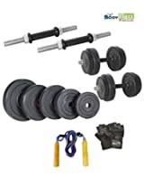 10 KG BODY MAXX ADJUSTABLE RUBBER DUMBELLS + 2 PCS DUMBELLS RODS + GLOVES + ROPE