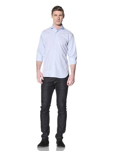 Orian Men's Cutaway Collar Washed Slim Fit Sport Shirt (Light Blue/White)