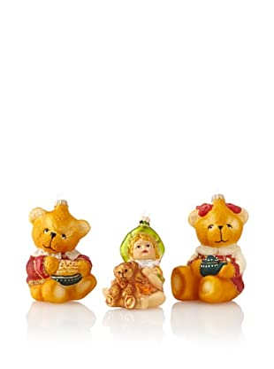 Krebs Glas Lauscha Child and Teddy Bears Ornament Set