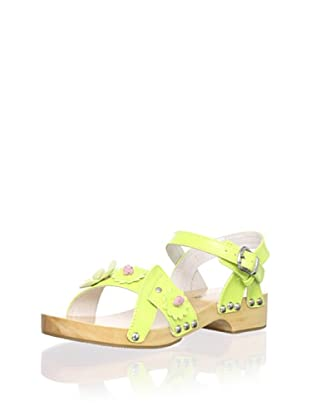 L'Amour Shoes Kid's Flower Clog (Lime)
