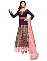 JINAAM DRESSES DYED NET ANARKALI STYLE UNSTITCHED SUIT WITH DYED BEMBARG DUPATTA