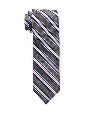 Bruno Piattelli Men's Stripe Silk Tie, Purple Charcoal