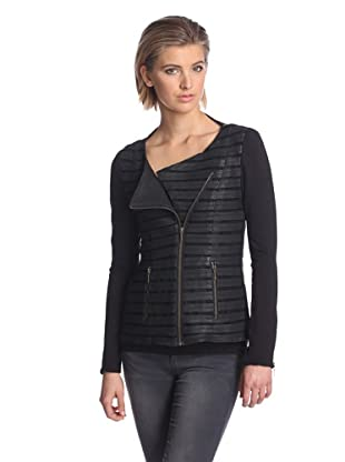 AS by DF Women's Krista Stripped Leather Jacket (Black)