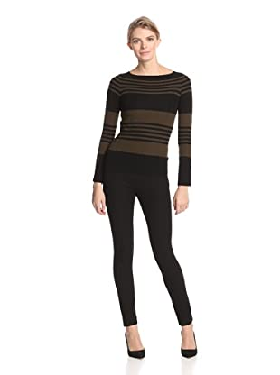 M.Patmos Women's Ottoman Stripe Boatneck Sweater (Dark Olive/Black)