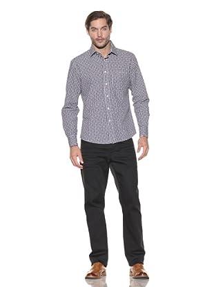 Rufus Men's Textured Plaid Button-Up Shirt (Blue Plaid)