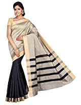 Korni Cotton Silk Banarasi Saree SHDEQ-382- Black KR0441