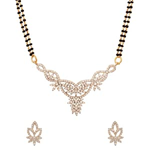 Voylla Auspicious Mangalsutra Featuring Double Chain with Inspired Floral Design