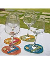 Cute Jute Embroidered Chapal Coasters Set Of 6