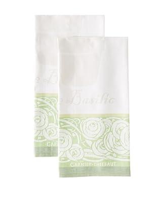 Garnier-Thiebaut Set of 2 Basilic Kitchen Towels, Vert