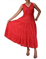 Skirts & Scarves Cotton Embroidered Ankle Length Sleeveless Lace Work Dress For Women (Red)