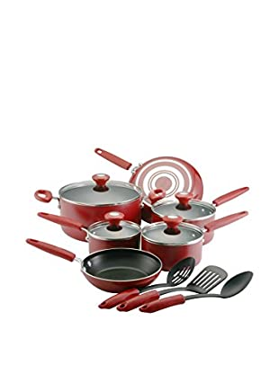 SilverStone 13-Piece Chili Red Culinary Colors Aluminum Nonstick Cookware Set