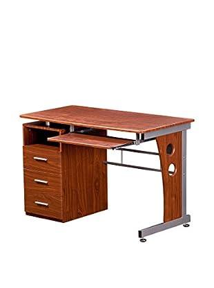 Techni Mobili Computer Desk With Storage, Mahogany