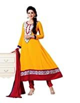 Fadattire Women Georgette Dress Material (Fasb06 _Yellow _6)