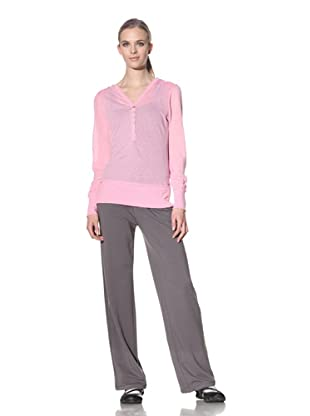 alo Sport Women's Button Front Relax Hoodie (Pink Lady)