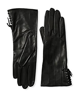 Portolano Women's Silk Lined Gloves with Laced Trim (Black/Black)