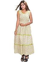 Exotic India Women Cotton Dress (Stq63 _White _Free Size)