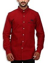 SPEAK Men's Cotton Twill Checks Mandarin / Chinese Collar Shirt (40, Red)