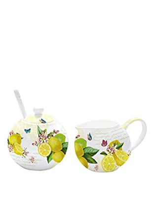 Easy Life Design Lattiera e Zuccheriera in Porcellana Bone China Lemon 150 ml