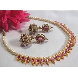 Necklace sets - Pink Gota Pearl necklace set