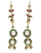 Elegant Polki Work Earrings Carved With Stone And Beads