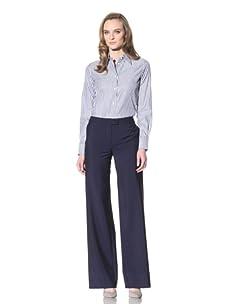 Loro Piana Women's Bold Striped Button-Up (White/navy)