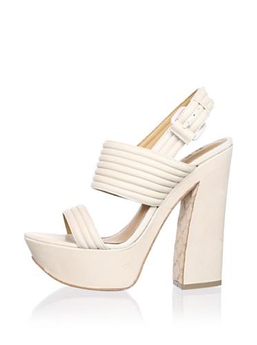 L.A.M.B. Women's Mabelle Platform Sandal (White)