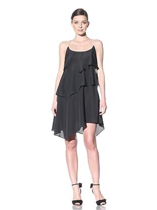 ABS by Allen Schwartz Women's Ruffle Dress With Rhinestone Straps (Black)
