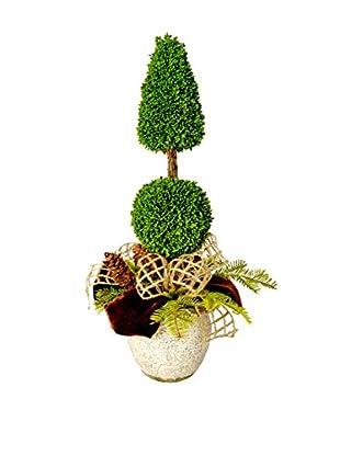 Creative Displays Cone & Ball Winter Topiary, Green/Brown/Tan