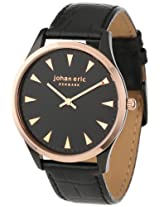 Johan Eric Men's JE9000-10-007 Helsingor Black and Rose Gold Ion-Plated Leather Watch