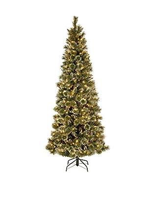 National Tree Company 7.5' Glittery Bristle Slim Pine Hinged Tree