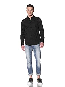 Antony Morato Men's Long Sleeve Shoulder Zipper Shirt (Black)