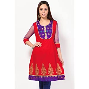 3/4th Sleeve Embroidered Red Kurta By Akyra