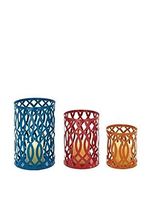 Set of 3 Metal Candle Lanterns, Multi
