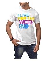 Londonhouze Men's Round Neck T-Shirt (LHW3D003XL_White_X-Large)