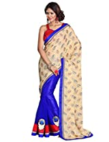 Sourbh Synthetic Patch Work Saree (6903 _Beige,Blue)