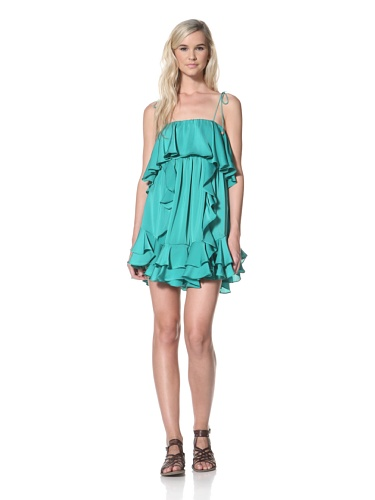 TBags Los Angeles Women's Ruffle Dress (Green)