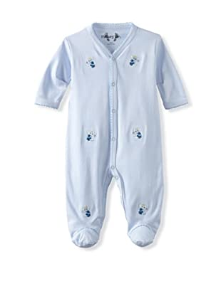 Margery Ellen Baby Pima Cotton Footie with Embroidery (Blue Elephant)