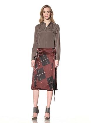 ALTUZARRA Women's Silk Skirt with Side Pleats (Burgundy Print)