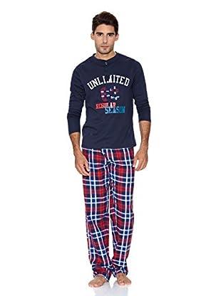 Bluedreams Pijama Punto Liso (Azul Marino)