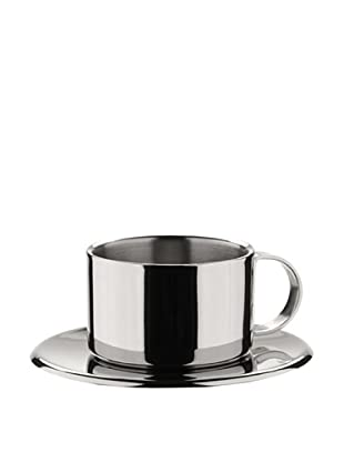 MIU France  Set of 4 Stainless Steel Espresso Cups and Saucers (Silver)