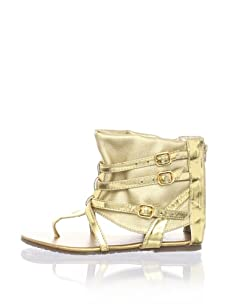 Pazitos Picaroz Girl's Ankle Wrap Sandal (Gold)
