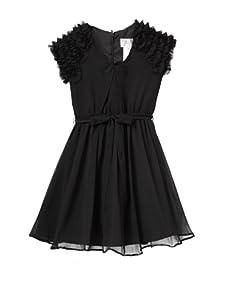 Blush by Us Angels Girl's V-Neck Ruffle Sleeve Dress (Black)