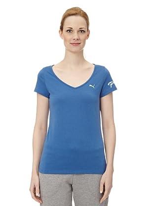 Puma Damen T-Shirt Pumascript Top II (delft blue)