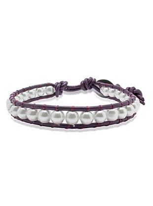 Lucie & Jade Echtleder-Armband Imitationsperlen violett/weiß